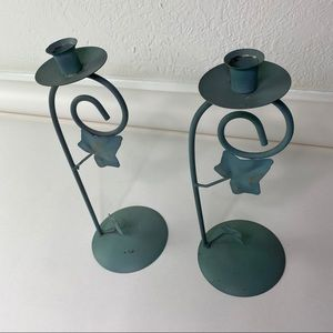 Vintage Accents - 2 Vintage Waccamaw Grapevine Green Candleholders